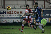 Piero Mingoia (Accrington Stanley) and Jake Carroll (Hartlepool United) during the Sky Bet League 2 match between Accrington Stanley and Hartlepool United at the Fraser Eagle Stadium, Accrington, England on 19 January 2016. Photo by Mark P Doherty.