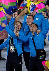 05-08-2016 BRA: Olympic Games day -1, Rio de Janeiro<br /> Openingsceremonie van de Olympische Spelen in Rio / dans, muziek, show en eenboodschap aan de wereld - Slovenie Slovenia / Jure Dolenec, Matej Gaber and Marko Bezjak of Slovenia