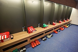CARDIFF, WALES - Tuesday, October 13, 2015: The Wales shirt of Gareth Bale laid out in the dressing room before the UEFA Euro 2016 qualifying Group B match against Andorra at the Cardiff City Stadium. (Pic by David Rawcliffe/Propaganda)