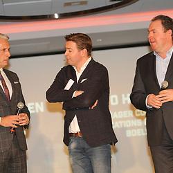 31-01-2018: HEERLEN: Boels-Dolmans: Heerlen: Nederland: Host Sander Kleikers van L1, Marketing manager Yvo Hoppers en CEO Erwin Janssen