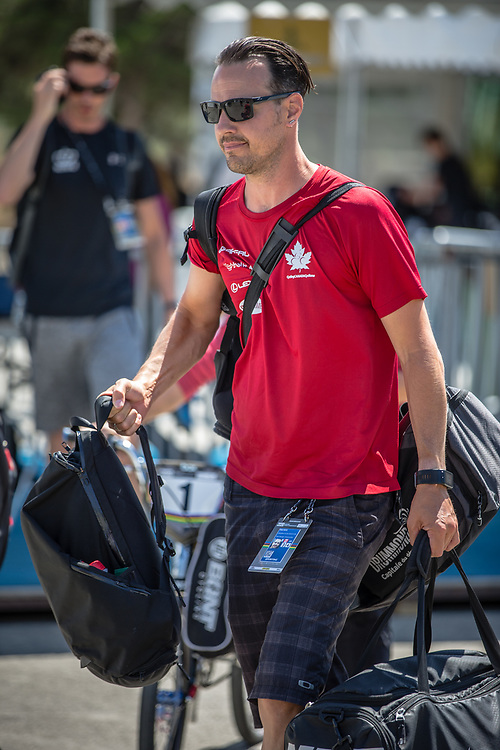 Adam Muys (team Canada) arriving on race day at the 2018 UCI BMX World Championships in Baku, Azerbaijan.