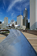 Detail of BP bridge and city skyline, Chicago, Illinois