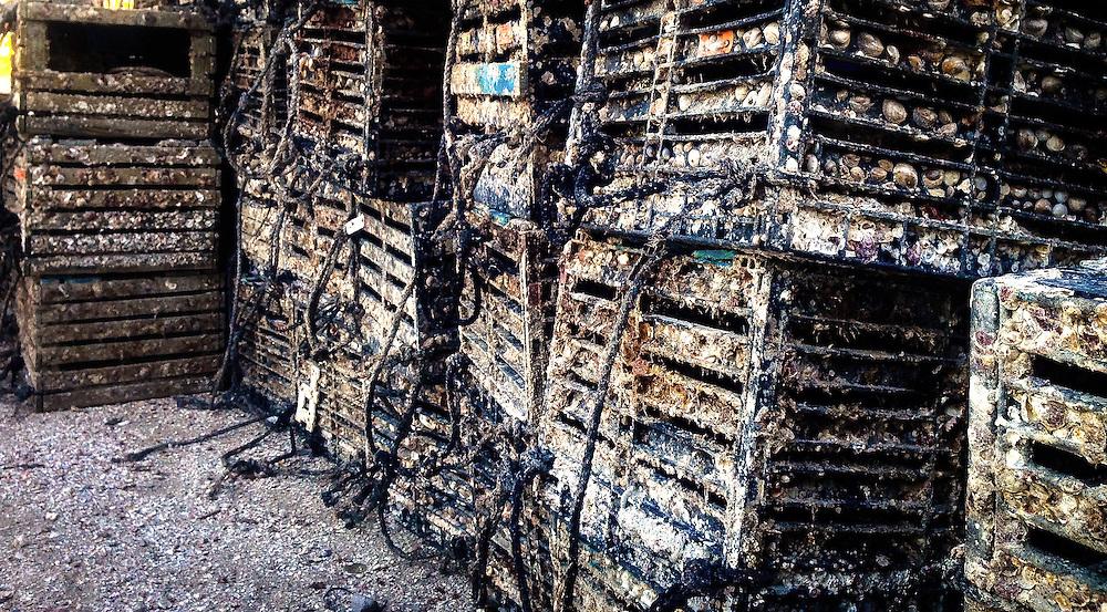 Crab traps, staked for their next rip, Cortez Village, Florida.