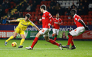 Nottingham Forest forward Nélson Oliveira turns in style to give himself some shooting space during the Sky Bet Championship match between Charlton Athletic and Nottingham Forest at The Valley, London, England on 2 January 2016. Photo by Andy Walter.