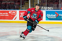 KELOWNA, CANADA - MARCH 16:  Ted Brennan #10 of the Kelowna Rockets warms up against the Vancouver Giants on March 16, 2019 at Prospera Place in Kelowna, British Columbia, Canada.  (Photo by Marissa Baecker/Shoot the Breeze)