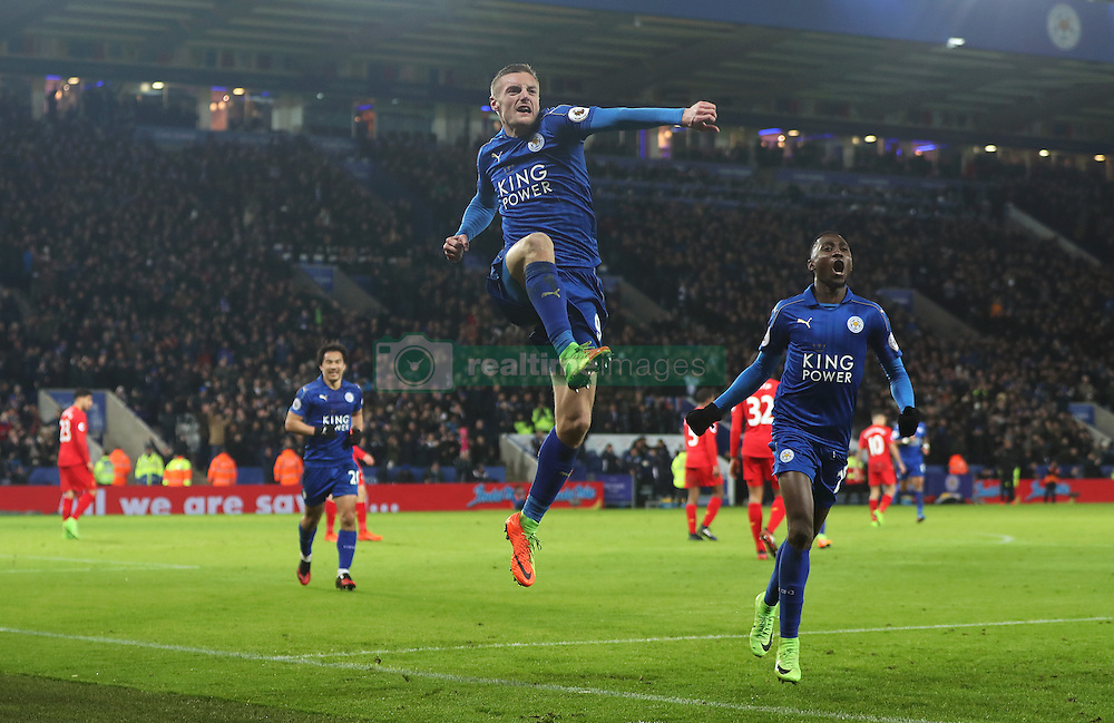 Leicester City's Jamie Vardy celebrates scoring his side's third goal of the game