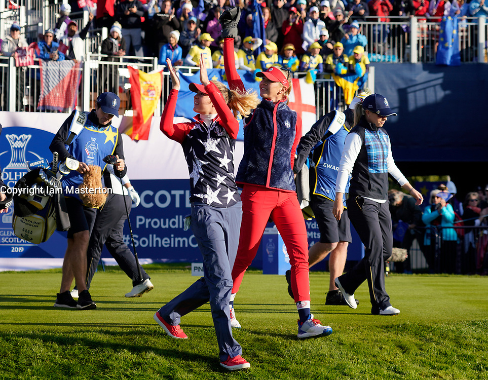 Solheim Cup 2019 at Centenary Course at Gleneagles in Scotland, UK. Nelly and Jessica Korda leave 1st tee during Friday Morning foursomes.
