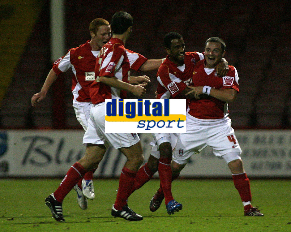 Photo: Paul Thomas.<br /> Rotherham United v Norwich City. Carling Cup. 19/09/2006.<br /> <br /> Michael Keane (R) and Rotherham celebrate his goal.
