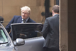 © Licensed to London News Pictures. 08/01/2019. London, UK. Prime Minister Boris Johnson departs The Houses of Parliament after taking part in PMQs. Photo credit: George Cracknell Wright/LNP
