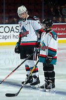 KELOWNA, BC - JANUARY 4: The Pepsi player of the game lines up alongside Conner McDonald #7 of the Kelowna Rockets against the Vancouver Giants  at Prospera Place on January 4, 2020 in Kelowna, Canada. (Photo by Marissa Baecker/Shoot the Breeze)