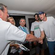 August 21, 2014, New Haven, CT:<br /> Andy Roddick and James Blake visit the United Technologies suite during the Men's Legends Event on day seven of the 2014 Connecticut Open at the Yale University Tennis Center in New Haven, Connecticut Thursday, August 21, 2014.<br /> (Photo by Billie Weiss/Connecticut Open)