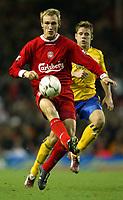 Photo. Aidan Ellis, Digitalsport<br /> Liverpool v Southampton.<br /> FA Barclaycard Premiership.<br /> 13/12/2003.<br /> Liverpool's Sami Hypia and Southampton's James Beattie