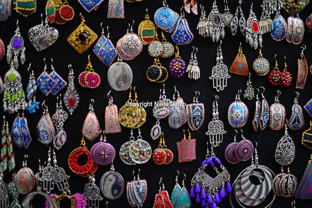 Handmade earrings in street shop, Granada, Spain