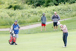 June 22, 2018 - Madison, WI, U.S. - MADISON, WI - JUNE 22: Fred Funk hits his third shot on the ninth hole during the American Family Insurance Championship Champions Tour golf tournament on June 22, 2018 at University Ridge Golf Course in Madison, WI. (Photo by Lawrence Iles/Icon Sportswire) (Credit Image: © Lawrence Iles/Icon SMI via ZUMA Press)