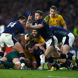 LONDON, ENGLAND - OCTOBER 18: Greig Laidlaw (captain) of Scotland gets his pass away during the Rugby World Cup Quarter Final match between Australia v Scotland at Twickenham Stadium on October 18, 2015 in London, England. (Photo by Steve Haag)
