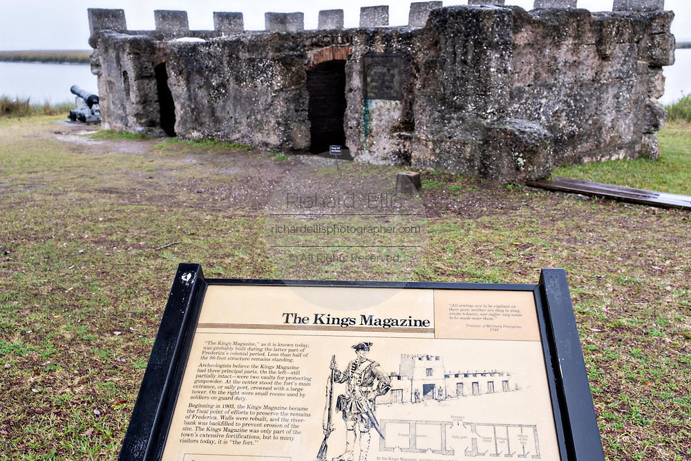 The original stone walls of the arms magazine and canons at the Fort Frederica National Monument, the original colonial settlement in St. Simons Island, Georgia. Fort Frederica was established by Georgia founder James Oglethorpe in 1736 to serve as a bulwark against the Spanish settlements in Florida,