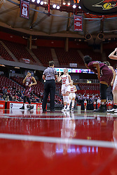 29 January 2017: Millie Stevens shoots for free during an College Missouri Valley Conference Women's Basketball game between Illinois State University Redbirds the Salukis of Southern Illinois at Redbird Arena in Normal Illinois.