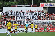 10.03.2013 Sydney, Australia. The Wanderers fans silent protest during the Hyundai A League game between Western Sydney Wanderers and Wellington Phoenix FC from the Parramatta Stadium. The Wanderers won 2-1.
