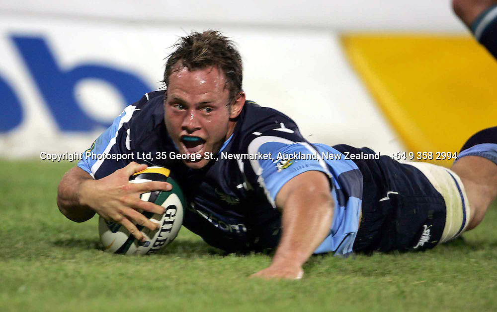 Bulls Johan Roets scores the third try during the opening round of the 2006 Super 14 rugby union match between the Cheetahs and the Bulls at Vodacom Park, Bloemfontain, South Africa on 10 February 2006. The Bulls won 30-18. Photo: Africa Visuals/PHOTOSPORT.  #NO AGENTS# NZ USE ONLY#