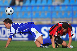 Damjan Oslaj (29) of Nafta and Alen Dzuzdanovic (3) of Primorje  at 12th Round of PrvaLiga Telekom Slovenije between NK Primorje vs NK Nafta Lendava, on October 5, 2008, in Town stadium in Ajdovscina. Nafta won the match 2:1. (Photo by Vid Ponikvar / Sportal Images)