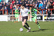 Bromley's Jack Holland clears away a FGR attack during the Vanarama National League match between Bromley FC and Forest Green Rovers at Hayes Lane, Bromley, United Kingdom on 28 March 2016. Photo by Shane Healey.