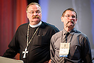 The Rev. Dr. Matthew C. Harrison, president of the LCMS, stands with the Rev. Terry R. Forke, president of Montana District, on Thursday, July 14, 2016, at the 66th Regular Convention of The Lutheran Church–Missouri Synod, in Milwaukee. LCMS/Frank Kohn