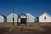 Expensive real estate beach huts at the Suffolk seaside town of Southwold, Suffolk.