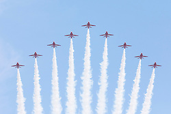 © Licensed to London News Pictures. 09/06/2018. London, UK. The Red Arrows perform a flypast as part of the Trooping the Colour ceremony in London to mark the 92nd birthday of Queen Elizabeth II, Britain's longest reigning monarch. Photo credit: Rob Pinney/LNP