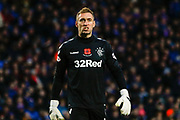 Allan McGregor Rangers Keeper celebrates his sides 4th of the day during the Ladbrokes Scottish Premiership match between Rangers and Motherwell at Ibrox, Glasgow, Scotland on Sunday 11th November 2018.