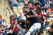 Bradford City's Paudie O'Connor(4) heads wide during the EFL Sky Bet League 2 match between Bradford City and Northampton Town at the Utilita Energy Stadium, Bradford, England on 7 September 2019.