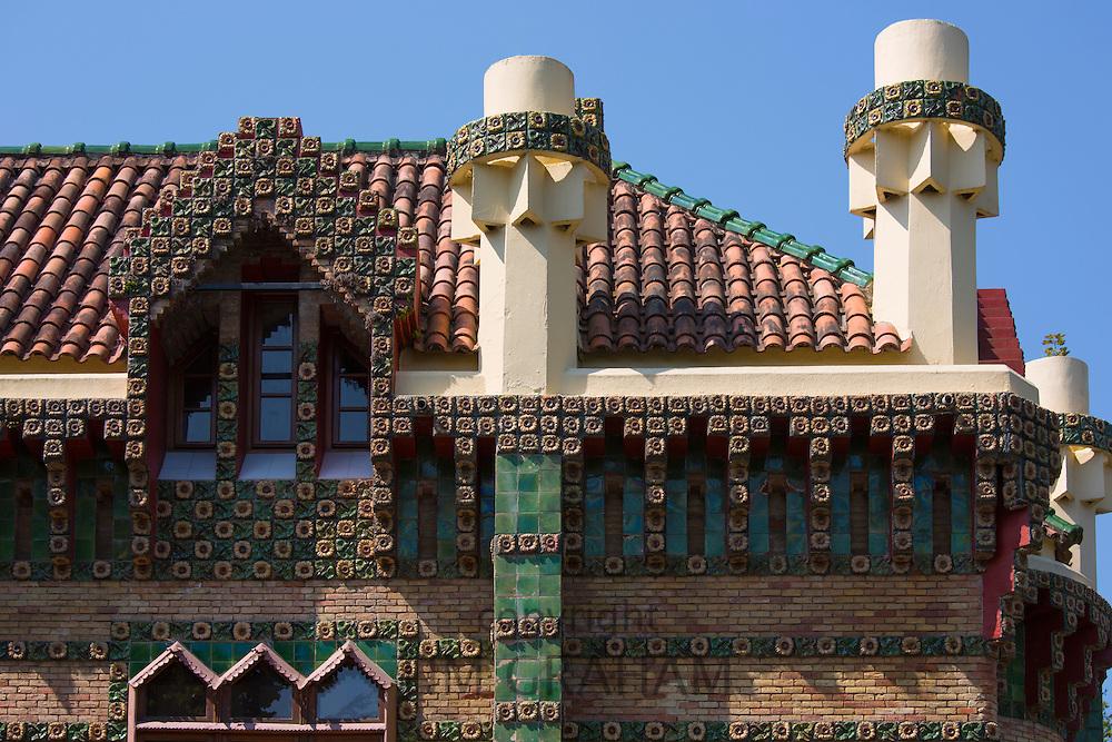 Tourist attraction El Capricho de Gaudi (The Caprice Villa Quijano) at Comillas in Cantabria, Northern Spain