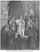 Queen Vashti Refusing to Obey King Ahasuerus [Esther 1:11-12] From the book 'Bible Gallery' Illustrated by Gustave Dore with Memoir of Dore and Descriptive Letter-press by Talbot W. Chambers D.D. Published by Cassell & Company Limited in London and simultaneously by Mame in Tours, France in 1866