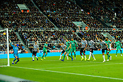 Ayoze Perez (#17) of Newcastle United scores Newcastle United's first goal (1-0) with a header from a cross by Ki Sung-Yueng (#4) of Newcastle United during the Premier League match between Newcastle United and Watford at St. James's Park, Newcastle, England on 3 November 2018.