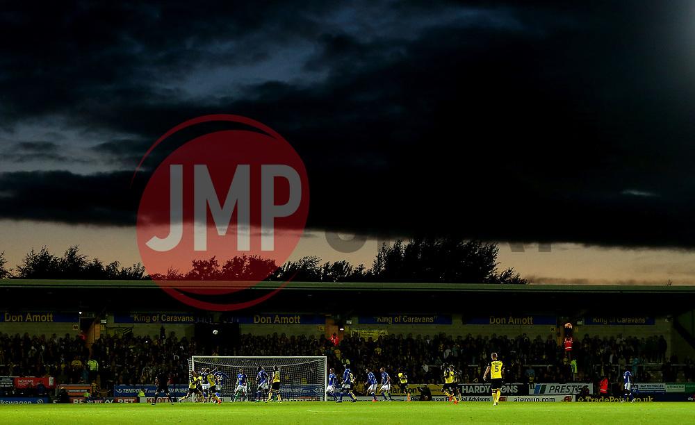 A dramatic sky over the match action as Burton Albion take on Birmingham City at The Pirelli Stadium - Mandatory by-line: Robbie Stephenson/JMP - 18/08/2017 - FOOTBALL - Pirelli Stadium - Burton upon Trent, England - Burton Albion v Birmingham City - Sky Bet Championship