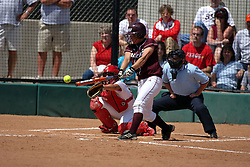 28 April 2007: Katie Wilson connects with a pitch. The Southern Illinois Salukis played the Illinois State Redbirds on the campus of Illinois State University in Normal Illinois.