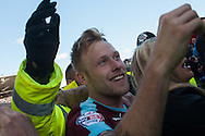 Scott Arfield of Burnley celebrates with fans following his sides win at the Sky Bet Championship match at Turf Moor, Burnley<br /> Picture by Matt Wilkinson/Focus Images Ltd 07814 960751<br /> 02/05/2016