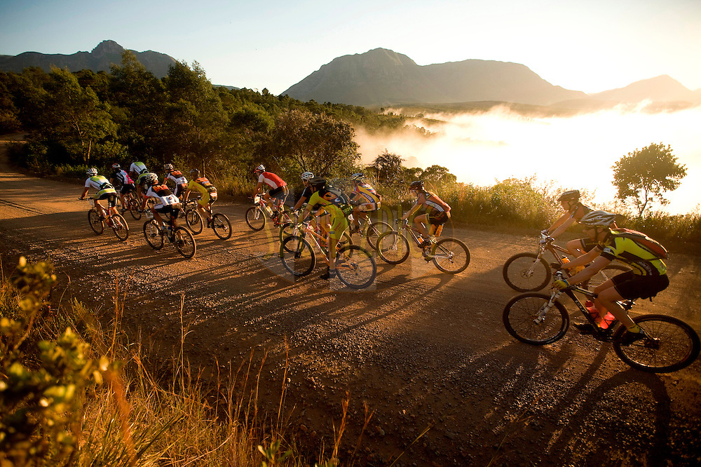 WESTERN CAPE, SOUTH AFRICA -  1 April 2008, Sunrise during stage four of the 2008 Absa Cape Epic Mountain Bike stage race from Langenhoven High School in Riversdale to Swellendam Primary School in Swellendam, Western Cape, South Africa..Photo by Karin Schermbrucker/SPORTZPICS
