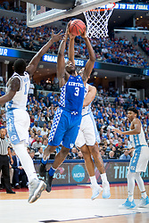 Kentucky forward Edrice Adebayo goes to the basket in the first half. <br /> <br /> The University of Kentucky hosted the University of North Carolina in a 2017 NCAA D1 Men's South Regional Championship, Sunday, March 26, 2017 at FedExForum in Memphis.