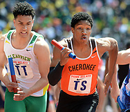 Cherokee's Kevin Milligan-Tinker starts the first leg of the High School Boys' 4x400 South Jersey Large race at the 124th running of the Penn Relays Saturday, April 28, 2018 in Philadelphia. (Photo by William Thomas Cain)