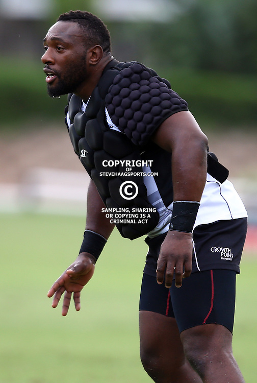 DURBAN, SOUTH AFRICA, 22,MARCH, 2016 - Tendai Beast Mtawarira during The Cell C Sharks training session  at Growthpoint Kings Park in Durban, South Africa. (Photo by Steve Haag)<br /> <br /> images for social media must have consent from Steve Haag