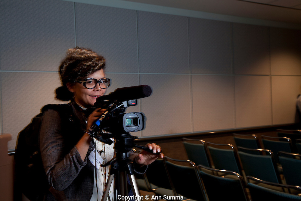 """Los Angeles, California: Student filmmaker, Eva Hageman came from Brooklyn to film """"Reality Rocks: Los Angeles"""" first reality show convention, 4/10/11 (Photo: Ann Summa)."""