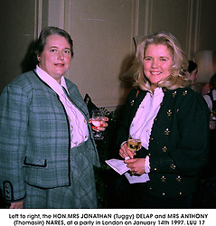 Left to right, the HON.MRS JONATHAN (Tuggy) DELAP and MRS ANTHONY (Thomasin) NARES, at a party in London on January 14th 1997.LUU 17