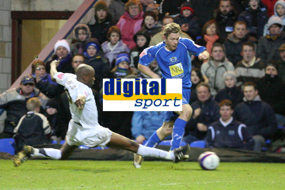 Photo: Pete Lorence/Sportsbeat Images.<br />Peterborough United v Milton Keynes Dons. Coca Cola League 2. 15/12/2007.<br />Drissa Diallo's aggresive tackle resulted in his second yellow card of the match.