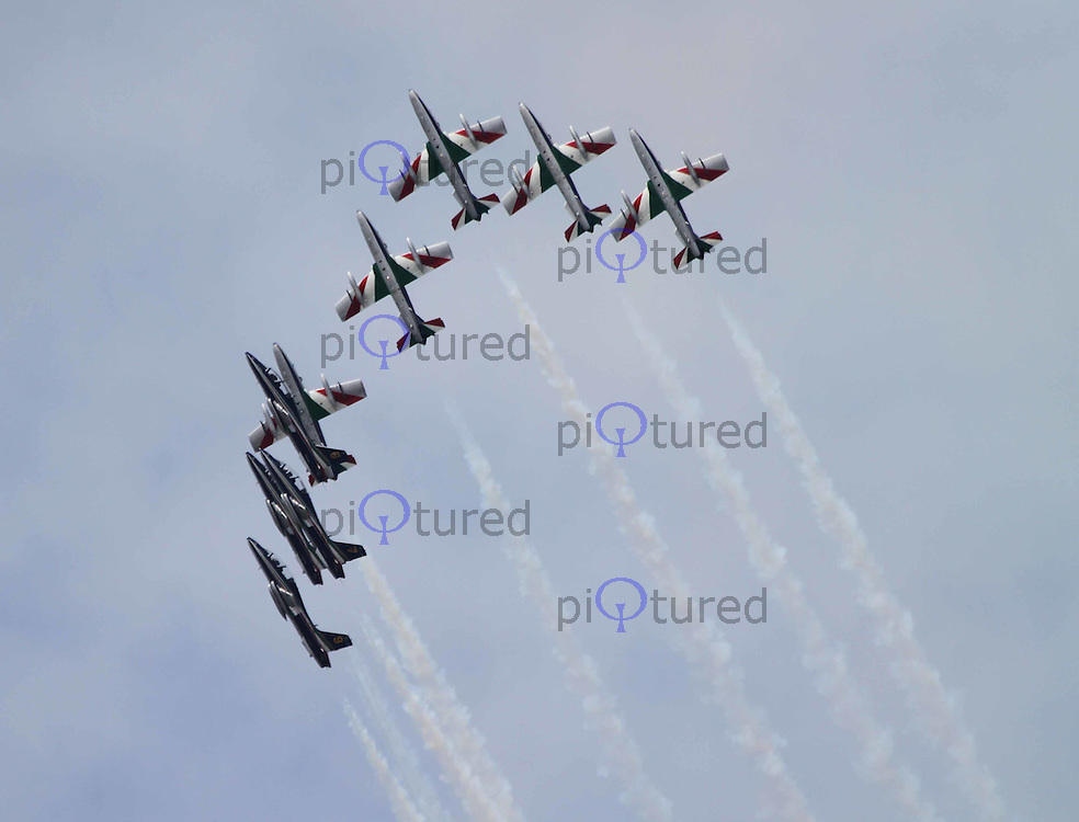MB-339 Frecce Tricolori Italian Air Force Aerobatic Display Team The Royal International Air Tattoo, RAF Fairford, UK, 15 July 2011:  Contact: Rich@Piqtured.com +44(0)7941 079620 (Picture by Richard Goldschmidt)
