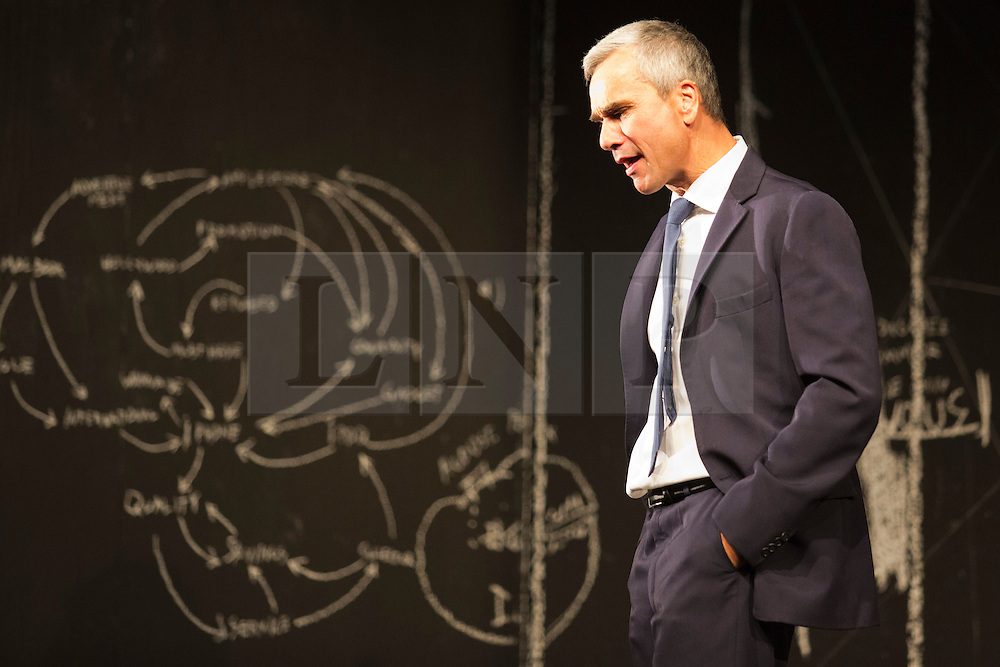 "© Licensed to London News Pictures. 24/09/2014. London, England. Pictured: Ingo Hülsmann as Member of the City Council. German theatre company Schaubühne Berlin present an adaptation of ""An Enemy of the People"" by Henrik Ibsen at the Barbican Theatre, Barbican Centre, from 24-28 September 2014. The play is directed by Thomas Ostermeier and part of the International Ibsen Season. Photo credit: Bettina Strenske/LNP"