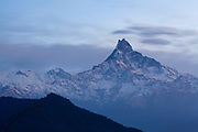 Machapuchare peak (Fish Tail) from the south. Annapurna Conservation Area. Nepal.