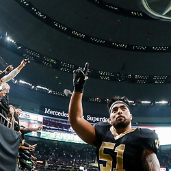 Nov 19, 2017; New Orleans, LA, USA; New Orleans Saints linebacker Manti Te'o (51) celebrates as he leaves the field following a overtime win against the Washington Redskins in a game at the Mercedes-Benz Superdome. The Saints defeated the Redskins 34-31 in overtime. Mandatory Credit: Derick E. Hingle-USA TODAY Sports