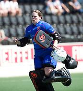 AMSTELVEEN  - Hockey -  2e wedstrijd halve finale Play Offs dames.  Amsterdam-Oranje Rood (2-1) .keeper Larissa Meijer (Oranje-Rood) speelt haar laatste wedstrijd.    COPYRIGHT KOEN SUYK