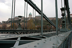 HUNGARY BUDAPEST 19NOV04 - Budapest's famous Chain Bridge, Szechenyi Lanchid, the first permanent link between the cities of Buda and Pest, built by Scottish Engineer Adam Clark...jre/Photo by Jiri Rezac..© Jiri Rezac 2004..Contact: +44 (0) 7050 110 417.Mobile:  +44 (0) 7801 337 683.Office:  +44 (0) 20 8968 9635..Email:   jiri@jirirezac.com.Web:     www.jirirezac.com..© All images Jiri Rezac 2004 - All rights reserved.