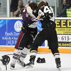 TRENTON, ON  - MAY 4,  2017: Canadian Junior Hockey League, Central Canadian Jr. &quot;A&quot; Championship. The Dudley Hewitt Cup. Game 6 between Trenton Golden Hawks and the Dryden GM Ice Dogs. Garrett Giertuga #90 of the Dryden GM Ice Dogs and Cal Walker #94 of the Trenton Golden Hawks have a disagreement during the first period.  <br /> (Photo by Andy Corneau / OJHL Images)